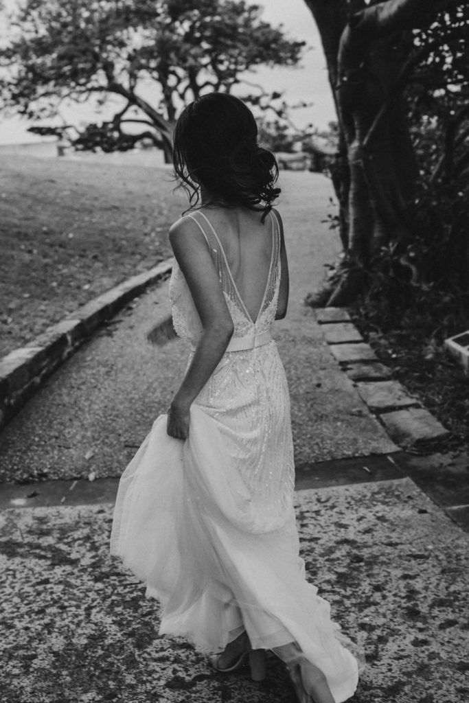 beautiful bride walking